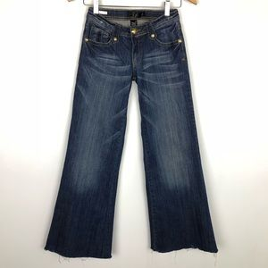 Denim - Wide Leg Jeans Raw Hem. 3 Junior. 26 Women's.